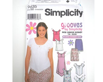 Peasant blouse / boho top / hippy skirt/summer blouse / 2001 sewing pattern, Size 17/18 19/20 21/22 23/24, Bust 38 40 42 44, Simplicity 9635