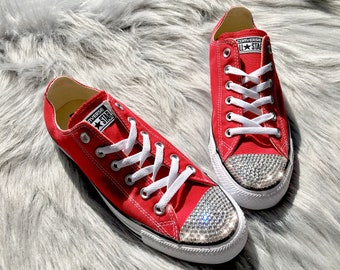 Bling Swarovski Crystal Converse All Star Low Top In Red Women's Bling Diamond Sneakers
