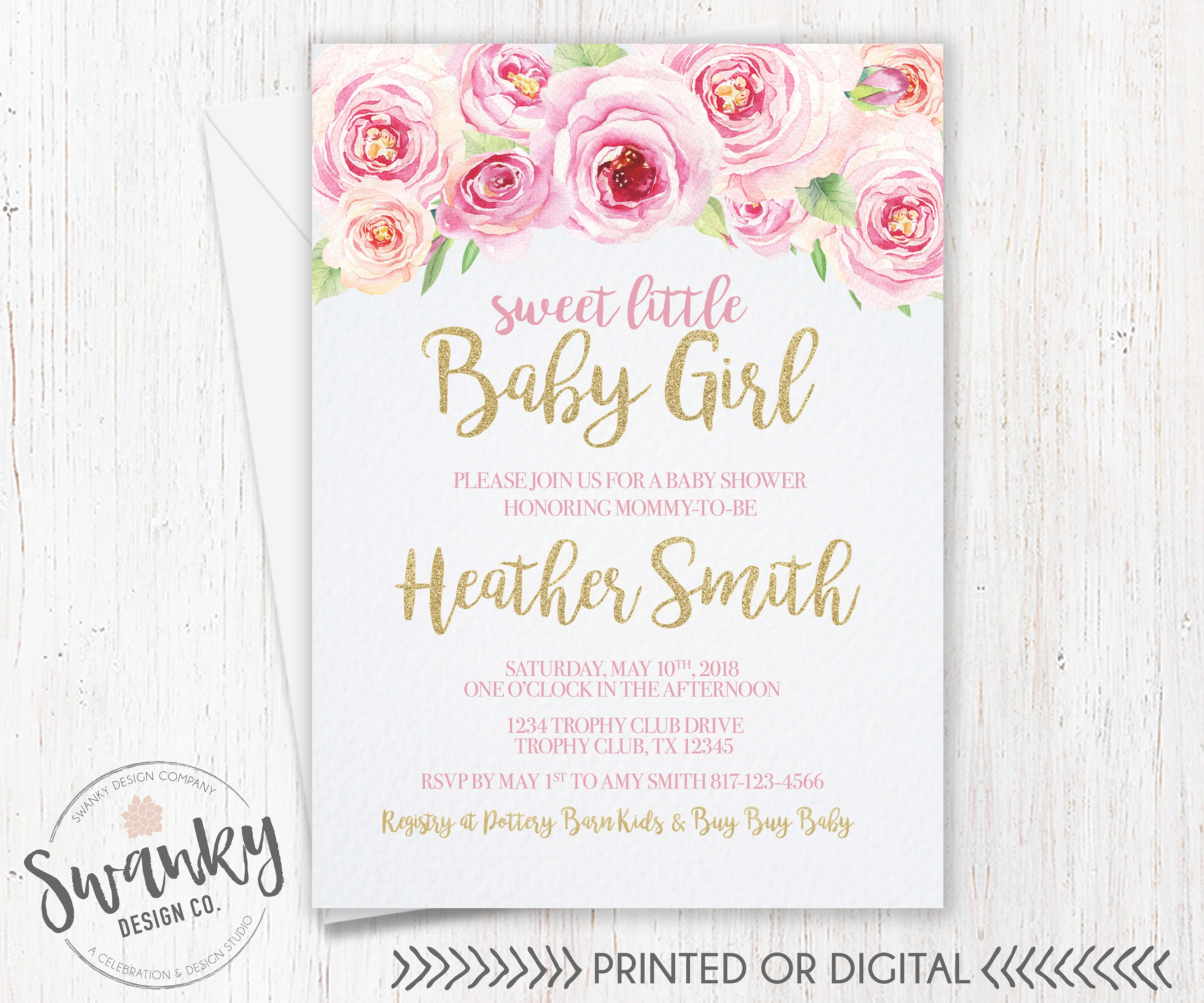 Pink Floral Baby Shower Invitation Girl Baby Shower