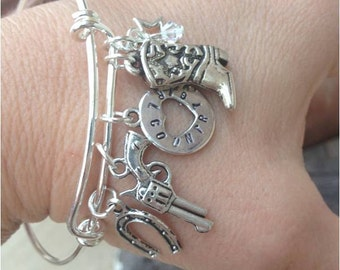 SALE!! A Little Bit Of Country Silver Adjustable Bangle