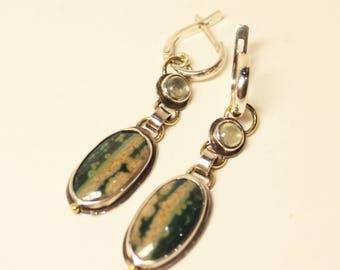 Jasper earrings, silver and brass earrings, long earrings, prehnite earring