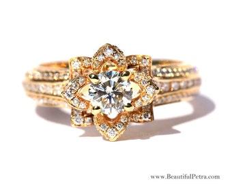 UNIQUE fleur Rose Diamond Engagement ou anneau de la main droite - 2.25 carats - or jaune K 14 - 14 k or blanc - rose 14K or-mariage - fL01YG