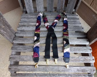 Vintage Pelican USA Clip On Suspenders Burgundy Red Navy Blue Green Cream 100% Silk Braces Made in England