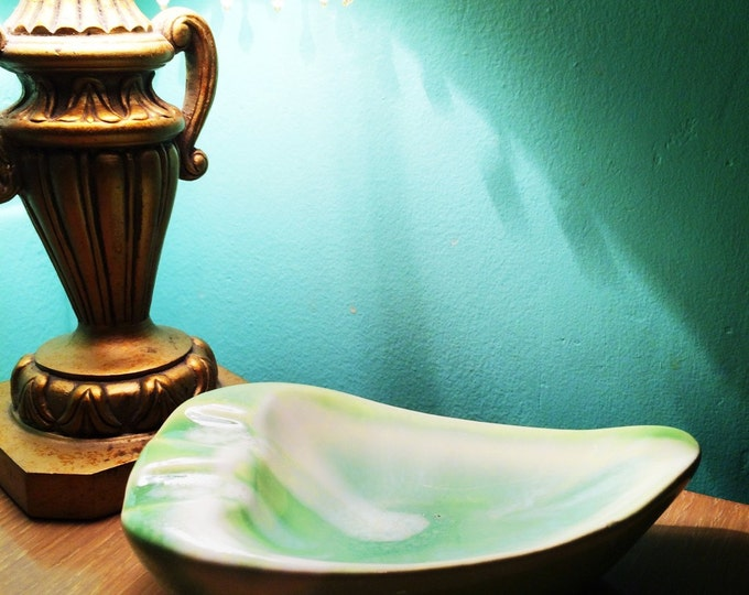 Ashtray mid century modern ceramic green and white