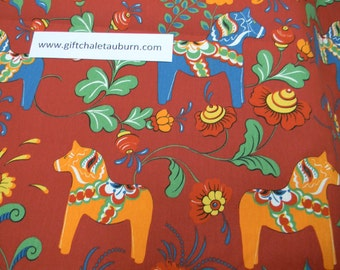 Scandinavian Swedish Dala Horses & Flowers on Brick Red Fabric