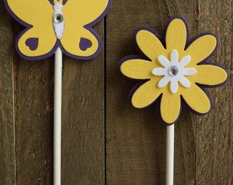 Butterfly and Flower Cupcake Topper, Purple and Yellow Butterfly and Flower Cupcake Topper, Butterfly Birthday Cupcake Topper (Set of 12)