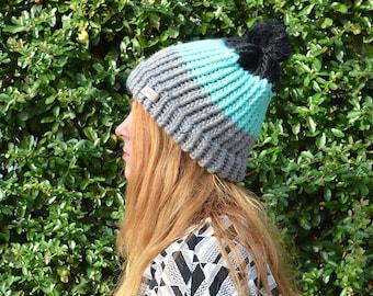 Mintgreen-Grey-Black Hat with furry pom pom