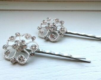 Rhinestone Bobby Pins, Crystal Hair Pins, Decorative Jeweled Wedding Bridal Hair Clip, Silver Vintage Style Hair Accessories, Bridesmaids
