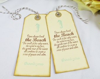 Aqua Blue Destination Wedding Favor Tags - Beach Wedding Thank You Tag - Seahorse Welcome Wedding Bag Tag - Bridal Shower Gift Tag for Favor