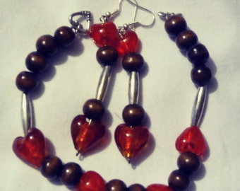 Beautiful lots of love bracelet and earring set. Made for someone with lots of love.