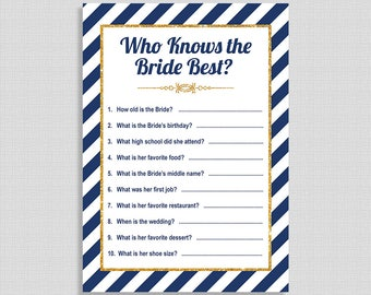 Who Knows The Bride Best Shower Game, Navy & Gold Stripe Bridal Shower Activity, Wedding Shower Quiz, DIY Printable, INSTANT DOWNLOAD