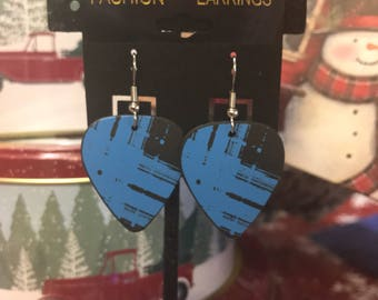 Guitar Pick Earrings - black w/ blue design