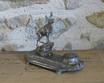 Art deco inkwell - signed vintage French ink stand with stag