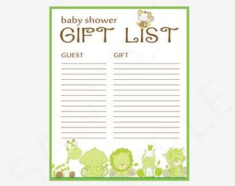 free printable baby shower gift list