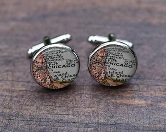 Chicago map cufflinks, Custom Weddings Gifts for Men, Birth place, Personalised Cufflinks, Silver Map Cufflinks,Anniversary Present