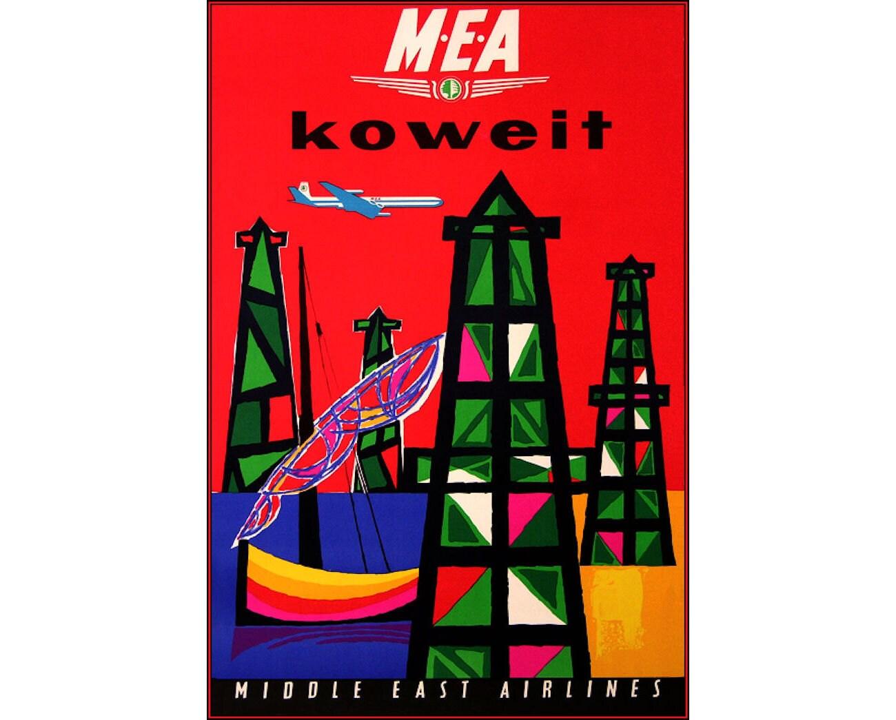 MEA Nahen Osten Airlines Kuwait Vintage Poster drucken Retro
