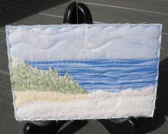 Vacation Memories - Fabric Art - Beach Quilted Postcard - Landscape Postcard - Fiber Art - Fabric Postcard - Landscape Art - Summer Vacation