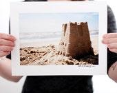 Sand Castle & The Ocean Photograph (9 x 6 inch Fine Art Print) Beach Home Decor