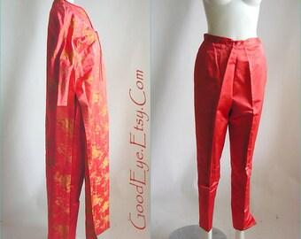 50s Silk Brocade Kimono Maxi Coat w Matching Cigarette Pants / small size  4 6 8 / HOLLYWOOD Hostess 2pc Suit 1950s / DYNASTY Hong Kong BBC