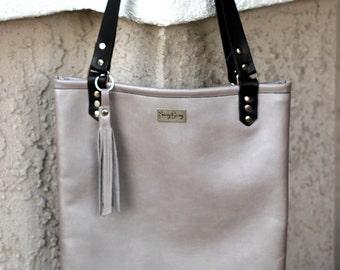Italian Leather Bag - Grey Italian Leather Tote - Italian Leather Tote - Grey Leather Bag - Signature Leather Bag - Free Matching Clutch Bag