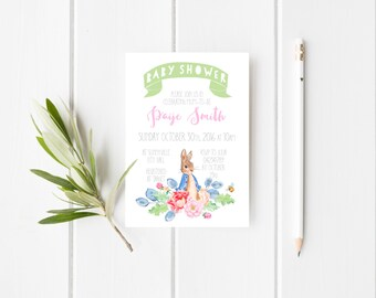 Peter Rabbit Baby Shower Invitation, DIGITAL DOWNLOAD, Gender Neutral Unisex Baby Sprinkle, Floral Personalised Printable Bunny Invite