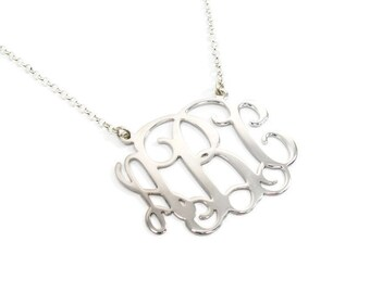 Monogram Necklace 2 inch Personalized. Sterling silver monogram necklace. Silver initial necklace. Monogram silver necklace. Initial jewelry