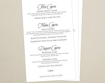 Wedding Reception Dinner Menu - Modern Menu Card - Monogram - Simple, Elegant - Personalized Wedding Menu Card - Custom Colors Available