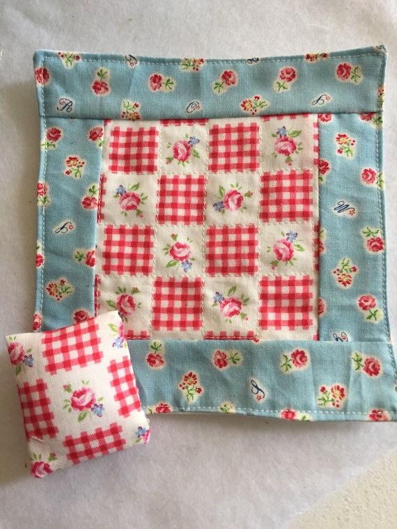 """Blue And Red Floral Miniature Quilt and pillow 5"""" x 5"""""""