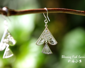 Blessing Fish Earrings 999 Fine Silver Handmade