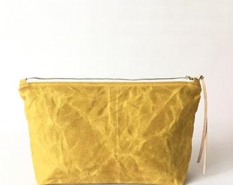 MARIGOLD / waxed canvas cosmetic bag