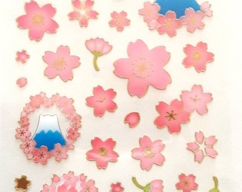 Paper stickers Japanese patterns sakuras gilding cherry blossom, 9.5 x 7.5 cm