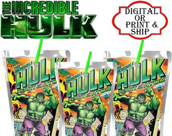 Incredible Hulk Theme Birthday-Personalized Favor Capri Sun Juice Label
