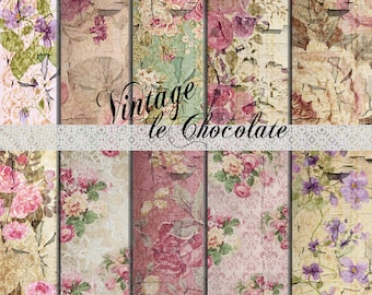 Scrapbook Paper, Digital Vintage Paper, Photo Background Paper, Old Wallpaper, Shabby Roses, Grungy Texture Paper. No. P183