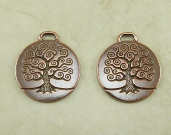 2 Large TierraCast Spiral Tree of Life Pendant Charms * Copper Plated Lead Free Pewter - I ship Internationally 2304
