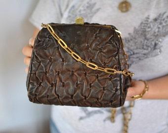 Vintage MESSENGER leather bag , metal frame leather bag....(404)