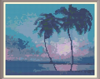 Tropical Sunset with Palms in Blue Counted Cross Stitch Pattern PDF Chart  Instant Download Modern Design
