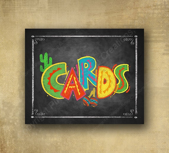 Printed Fiesta Cards Sign, Fiesta party signage, graduation sign, wedding sign, Grad sign, Fiesta birthday, mexican party sign