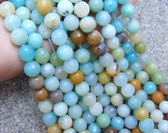 """8mm faceted Amazonite beads, 16"""" strand, wholesale beads, gemstone beads, beads for jewelry making, mala beads, genuine beads #R8F-015"""