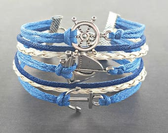 Sailing Jewelry, Anchor Bracelet, Nautical Accessories, Sailboat Bracelet, Ocean Jewelry, Nautical Bracelet, Beach Jewelry, Ocean Bracelet