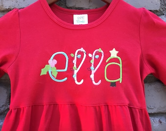 Kids Christmas Dress - Girls Christmas Dress - Holiday Dress - Christmas Outfit - Personalized Dress - Embroidered Dress - Kids Holiday Top