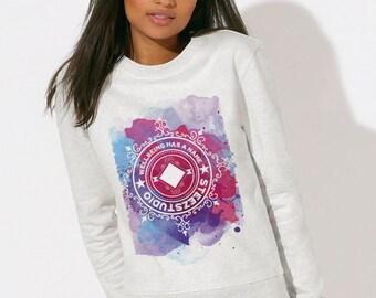 Sweatshirt Woman in fair trade organic cotton round neck mottled Heather White -