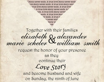 Love Story Wedding Invitation - 50 Count