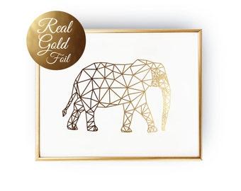 Elephant Print, Geometric Elephant, Elephant Art, Real Gold Foil, Elephant Wall Art, Gold Elephant Print, Nursery Gold Foil Print.