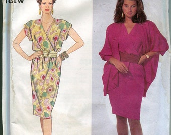 1990s  Dress Pattern Simplicity 7007 Pullover Dress Cocoon Jacket Womens Sewing Patterns Size 6-14 uncut