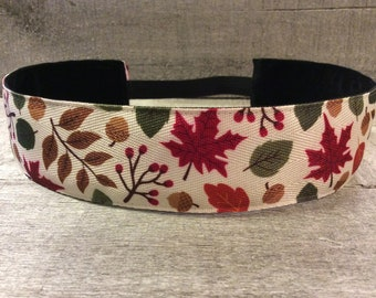 Autumn Fall Leaves Nonslip Headband, Noslip Headband, Workout Headband, Sports Headband, Running Headband, Athletic Headband