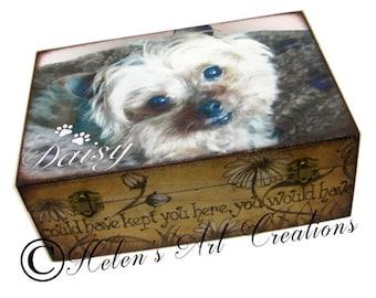 Large Pet Memorial Box, Pet Keepsake Box, Dog Urn, Wood Urn, Personalized Keepsake Box, Photo Keepsake Box, Custom Pet Photo, Animal Box