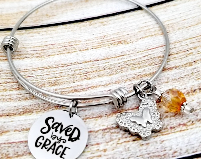 Saved by Grace Customizable Expandable Bangle Charm Bracelet, strength, courage, inspire, rooted, god, church, baptism, biblical