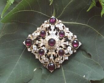 Antique Brooch / Enamel Pin with Amethyst Stones / Victorian Brooch