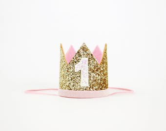 1st Birthday Crown Girl | 1st Birthday Girl Crown | first birthday girl | first birthday hat girl | 1st birthday girl outfit | Gold Pink