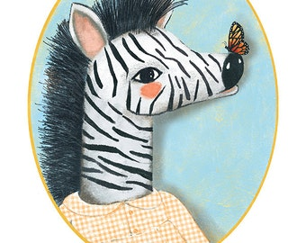 Personalized print/birth gift/birthday gift/ nursery wall decor/nursery art/ kids room decor. Print 'Customizable Zebra' {by Maria Mola}